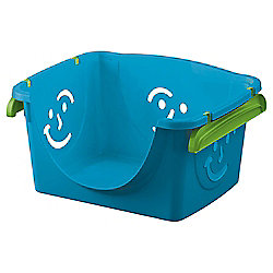 Smiley Face Plastic Storage Box - Stackable - Blue