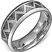 Urban Male Men's 8mm Silver Finish Stainless Steel Modern Black Pattern Ring