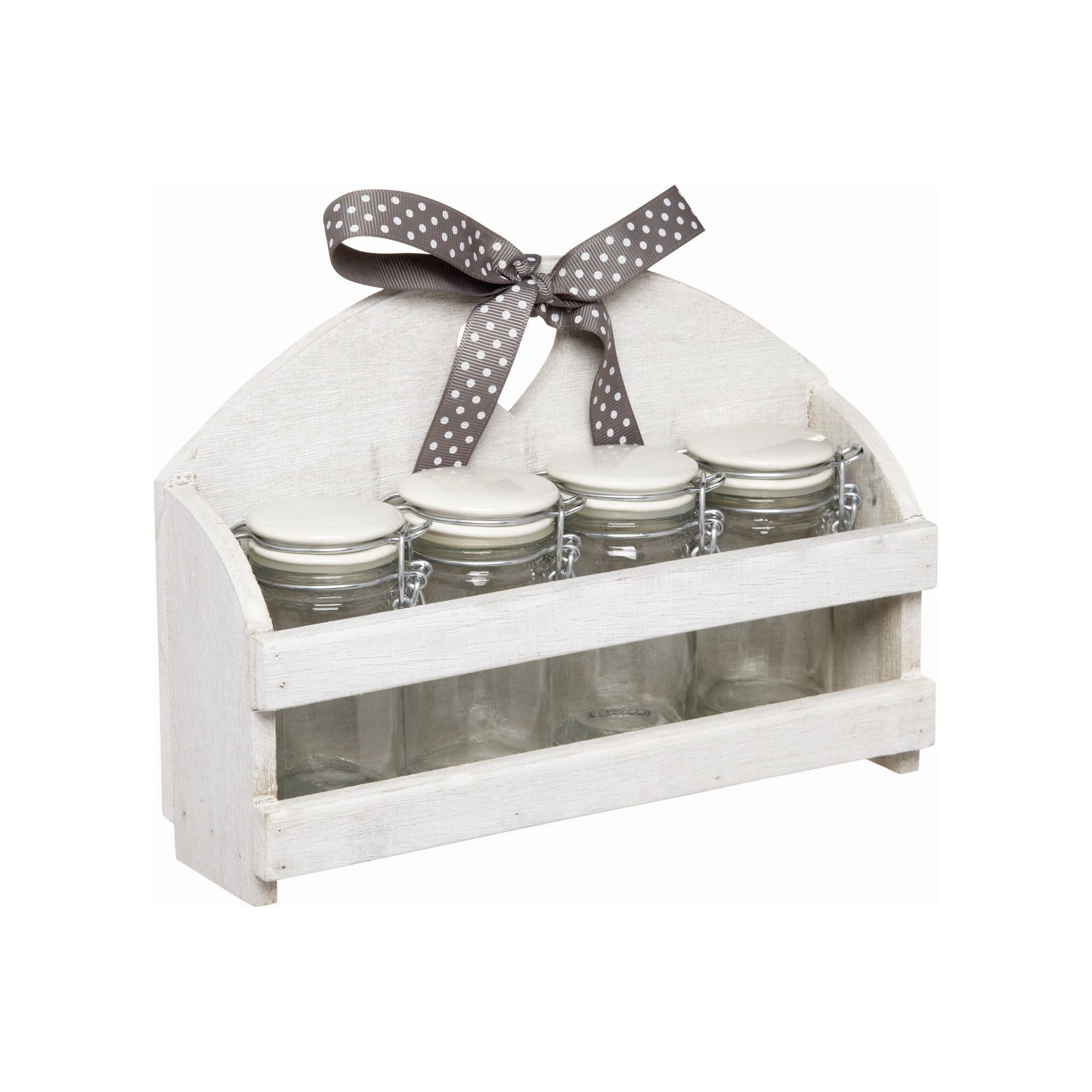 KitchenCraft Home Made Set of Four 70ml Storage Jars with Ceramic Lids and Wooden Stand