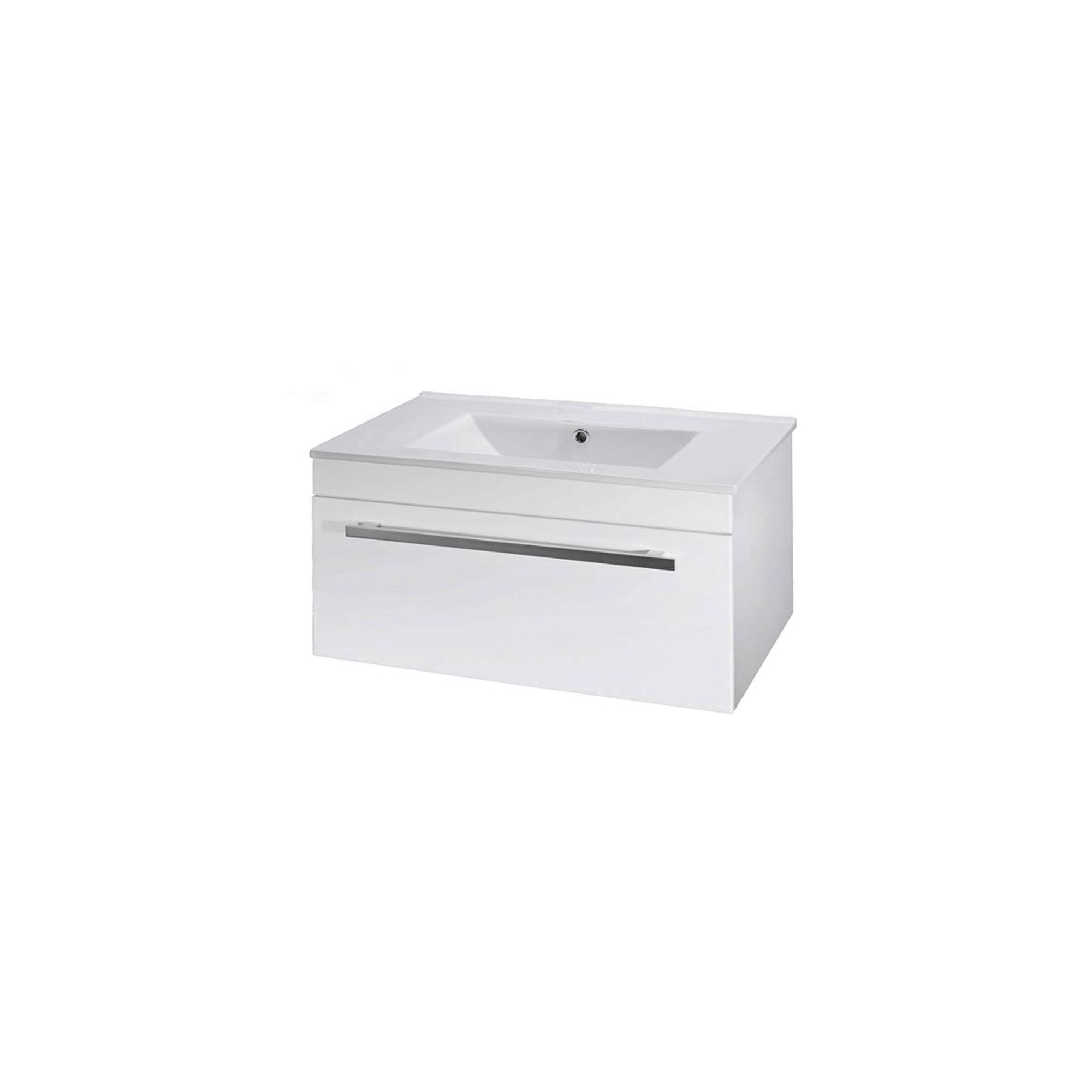 Premier Minimalist Wall Mounted Basin Vanity Unit White 600mm