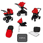 Ickle Bubba Stomp v3 AIO Travel System + Isofix Base, Mosquito Net & Cup Holder - Red (Black Chassis)