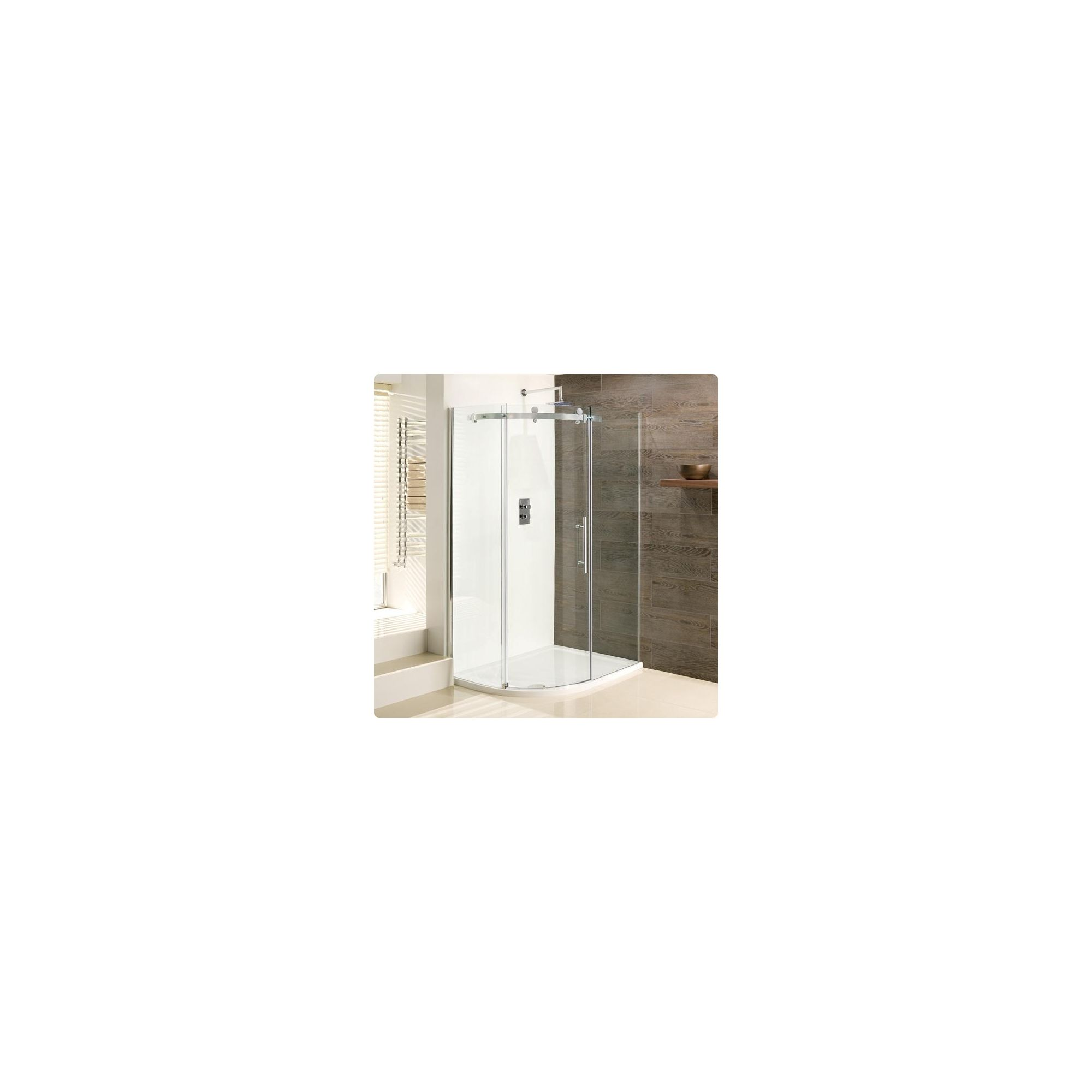 Duchy Deluxe Silver Offset Quadrant Shower Enclosure 1200mm x 800mm (Complete with Tray), 10mm Glass at Tesco Direct