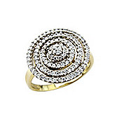 Sterling Silver and Yellow Rhodium Overlay Cubic Zirconia Dress Ring