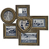 Collage - Wall Mounted 6 Photo Frame Cluster - Brown