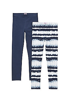 F&F 2 Pack of Tie-Dye and Plain Leggings with As New Technology - Multi