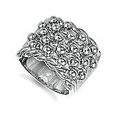 Jewelco London Rose Coated Sterling Silver roped edge Ring Size