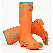 Evercreatures Ladies Celtic Peace Wellies Orange Turquoise Edging 6