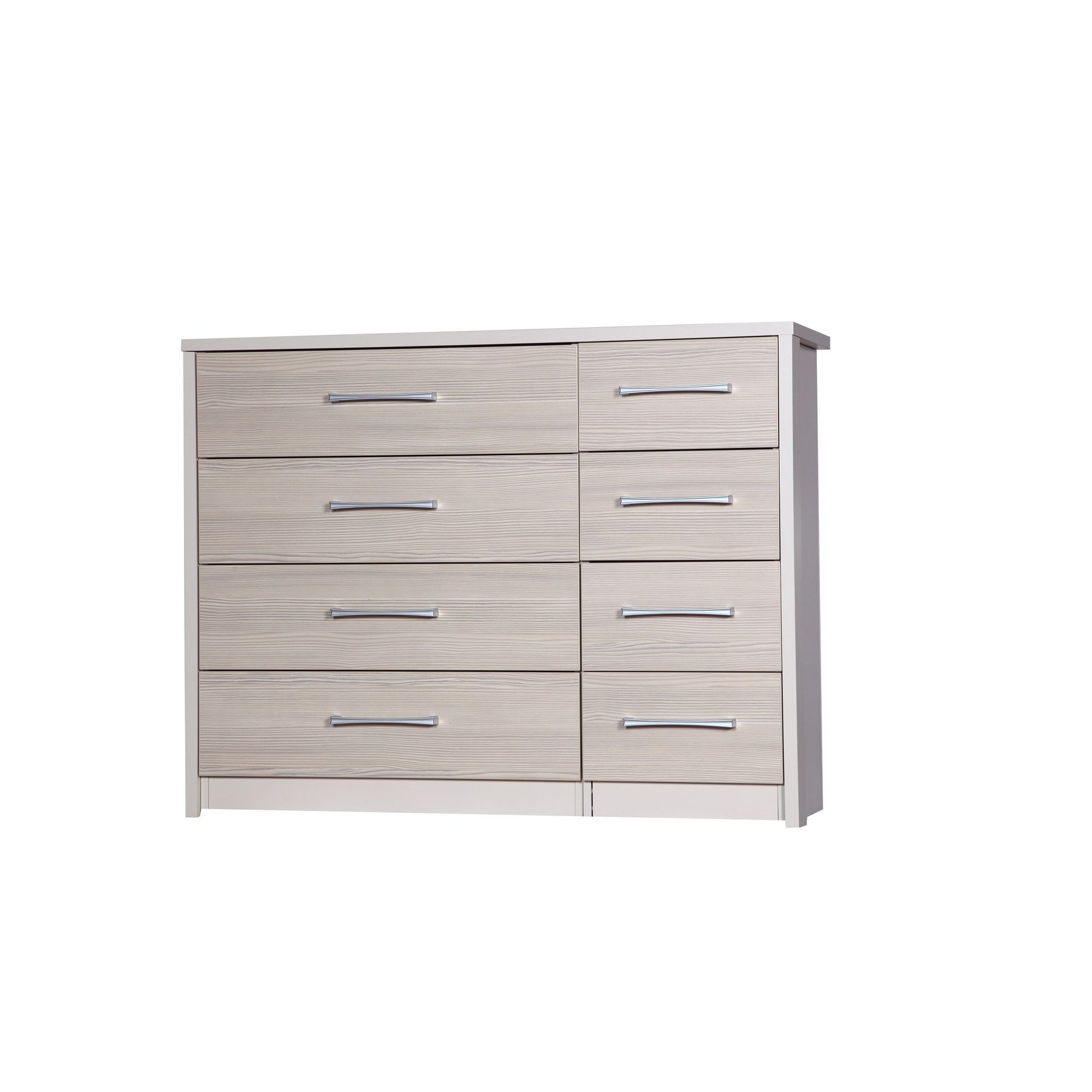 Alto Furniture Avola 8 Drawer Double Chest - Cream Carcass With Champagne Avola at Tesco Direct