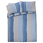 Tesco Washed Stripe Duvet Cover And Pillowcase Set, , - Blue