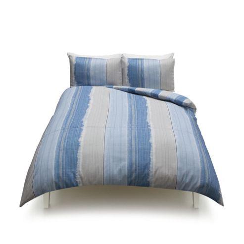buy tesco washed stripe duvet cover and pillowcase set. Black Bedroom Furniture Sets. Home Design Ideas