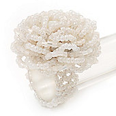 Snow White Glass Bead Flower Stretch Ring