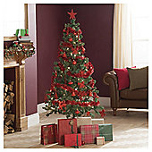 Festive 1.80M (6Ft) Tree & 75Pc Red Decoration Kit With 80 Led Warm White Lights
