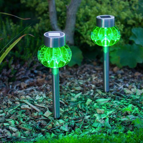buy set of 2 green led solar garden stake lights from our. Black Bedroom Furniture Sets. Home Design Ideas
