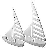 Clipper' Pair of Silver Aluminium Sail Boat Home Bathroom Ornaments