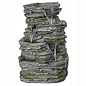 Indoor / Outdoor Slate Effect Wall Fountain - Green / Grey
