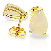 QP Jewellers 1.55ct Opal Pear Stud Earrings in 14K Gold