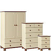 Nordic Cream and Pine Bedside, 2+3 Deep Drawer Chest, 2 Door 2 Drawer Combi Robe Package