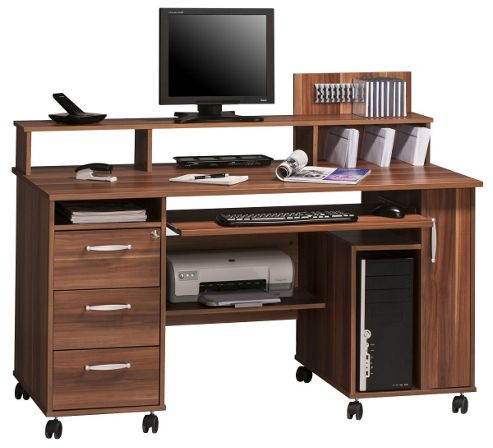 Buy maja exeter walnut computer desk from our office desks tables range tesco - Tesco office desk ...
