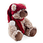 Small Light Brown Plush Louie Bear in Winter Hat & Scarf