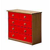 3 + 2 Chest of Drawers in Antique and Red