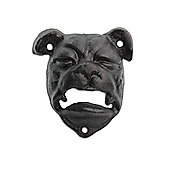 Wall Mounted British Bull Dog Head Cast Iron Bottle Opener in Black Finish