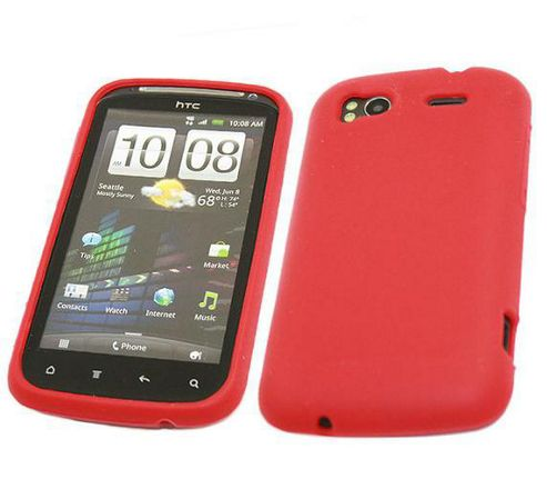iTALKonline SoftSkin Silicone Case Red - For HTC Sensation