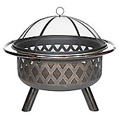 Tesco  Steel  RoundLattice  Fire Pit with Mesh Lid