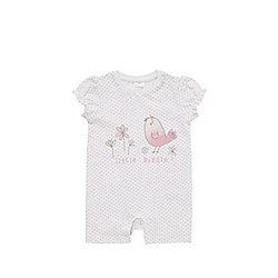 F&F Bird Print Romper 00 - 03 months Pink/White
