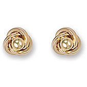 Jewelco London 9ct Yellow gold Knot design Studs with single beaded centre