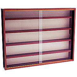 Reveal - 4 Shelf Glass Wall Display Cabinet - Mahogany
