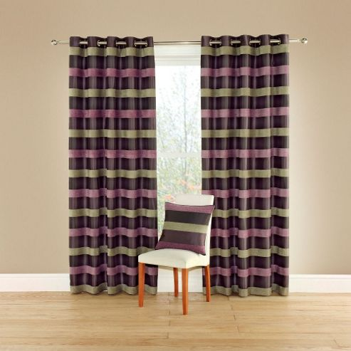 MONTGOMERY Casino Lined Curtains with Eyelet Heading in Aubergine - 116cm Width x 137cm Drop