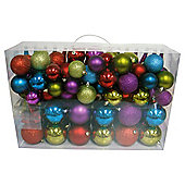 Festive Brights Mixed Bauble Pack, 100 Piece