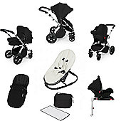 Ickle Bubba Stomp v3 AIO Travel System/Isofix Base/Bouncer Combo - Black (Silver Chassis)