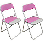 Harbour Housewares Pink / White Padded, Folding, Desk Chair - Pack of 2