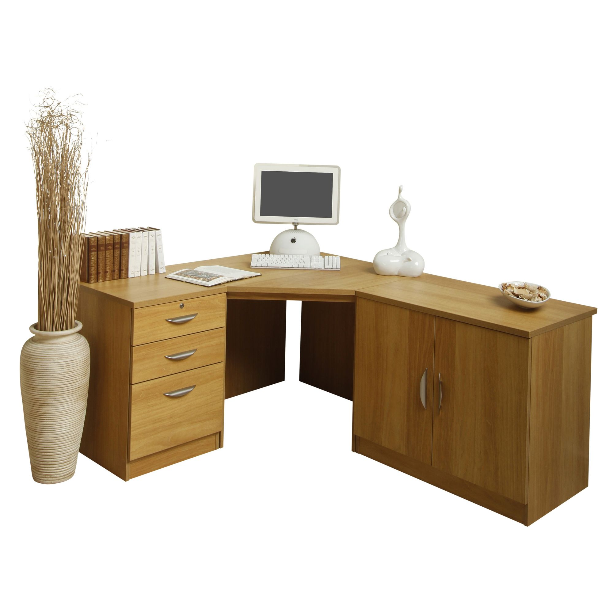 Enduro Home Office Corner Desk / Workstation with Pedestal and Cupboard - Teak at Tescos Direct