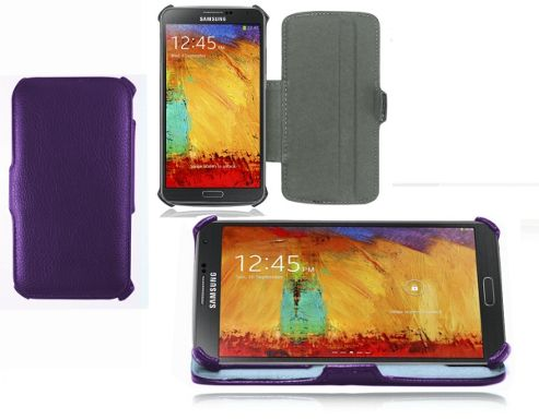 Navitech Samsung Galaxy Note 3 PU Flip Case With Stand - Purple