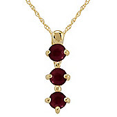 Gemondo 9ct Yellow Gold 0.43ct Natural Ruby Trilogy Pendant on Chain