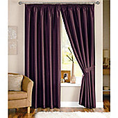 Dreams and Drapes Java 3 Pencil Pleat Lined Faux Silk Curtains (inc. t/b) 66x54 inches (167x137cm) - Aubergine