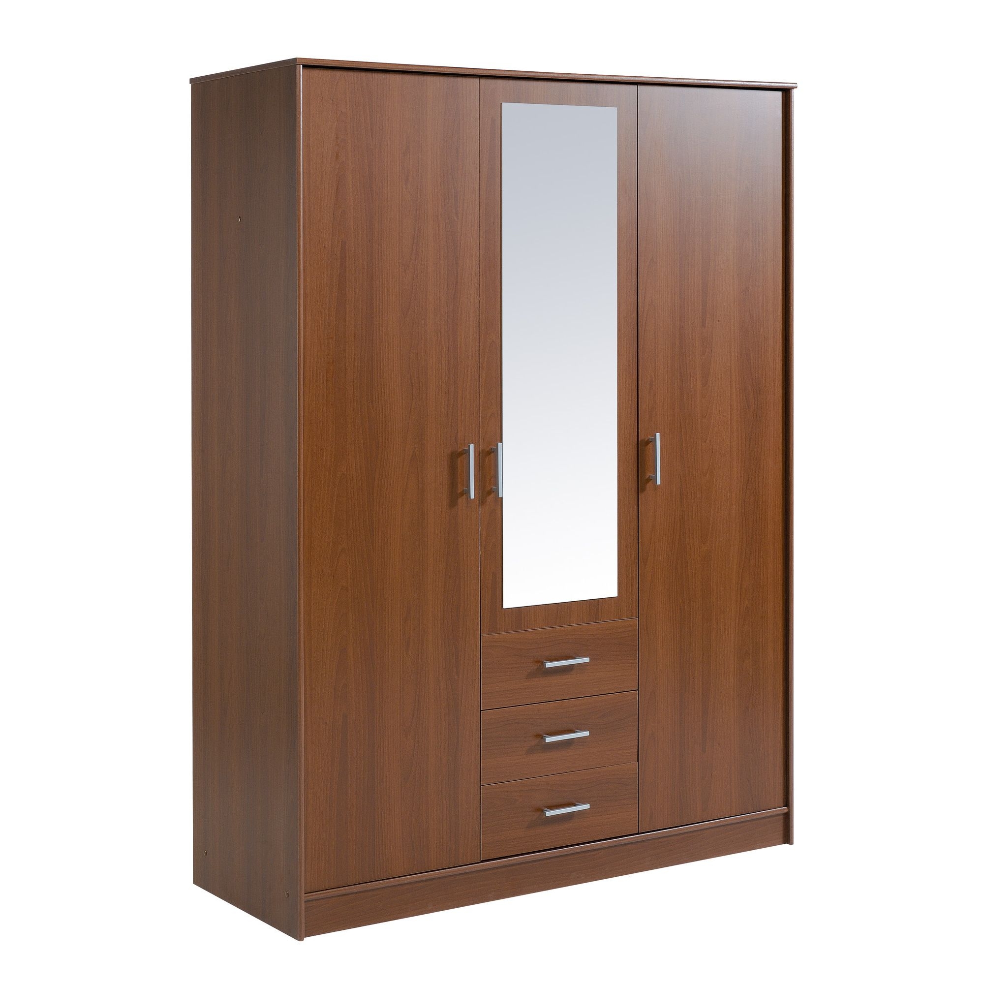 Parisot Essential Wardrobe with 3 Doors and 3 Drawers - Cherry at Tesco Direct