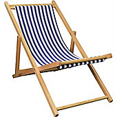 Harbour Housewares Garden Deck Chair - 3 Positions - Blue / White Stripe