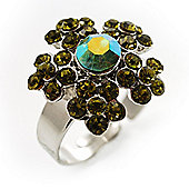 Green Diamante Floral Ring