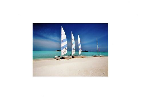 Pharmore Ltd 4 Sailing Boats on Sandy Shore Wall Art - 60cm x 90cm
