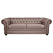 Chesterfield Velvet-effect Fabric Sofabed, Mink