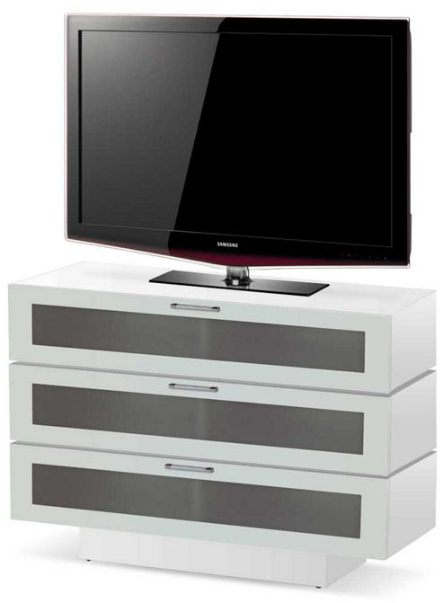 High Gloss White 3 Tier TV Stand For TVs Up To 50 inch