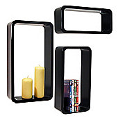 Charlton - Wall Mounted Storage / Display Shelves - Set Of 3 - Black