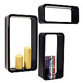 Charlton - Wall Mounted Storage / Display Shelves - Set Of 3 - Black