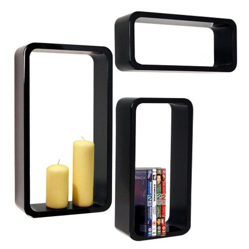Charlton wall mounted storage display shelves set of 3 black for Storage charlton
