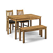 Coxmoor Oak Wood Dining, Kitchen Table 2 Chairs & Bench