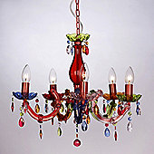 Marie Therese Five Way Ceiling Light Gypsy Chandelier in Multi Coloured