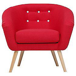 Jemima Tub Chair Red/Grey Button